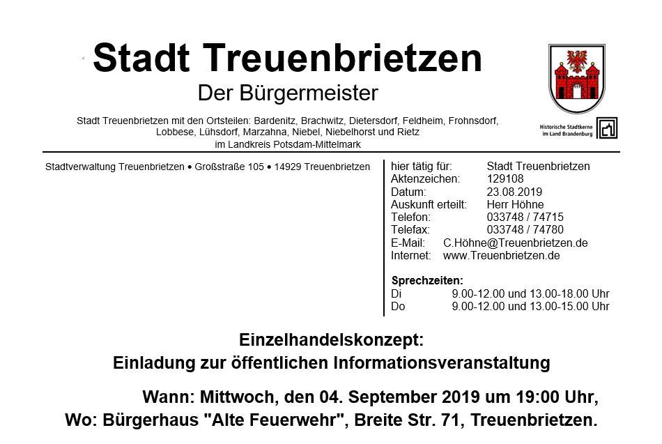 Informationsabend zum Einzelhandelskonzept Treuenbrietzen