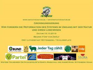 Wir fordern die Reformation des Systems im Umgang mit der Natur und ihren Lebewesen! @ Schlossplatz | Lutherstadt Wittenberg | Sachsen-Anhalt | Deutschland