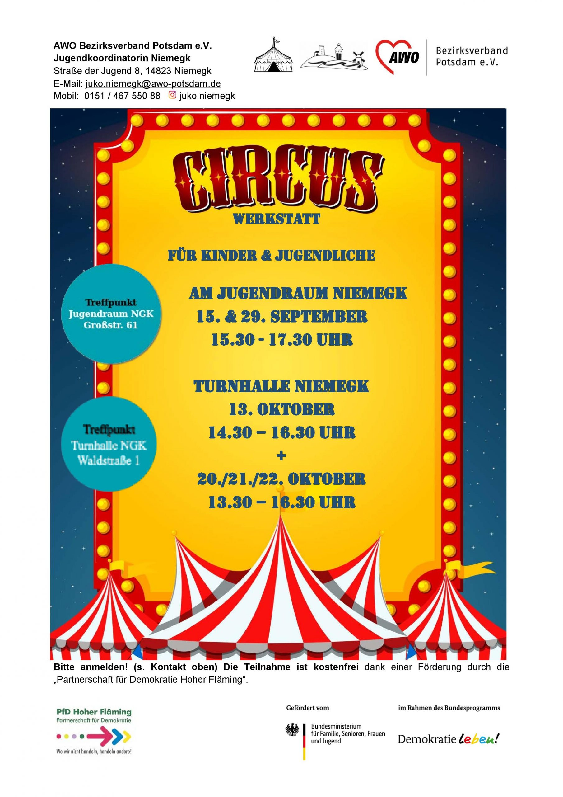 Flyer Zirkuswerkstatt 2020