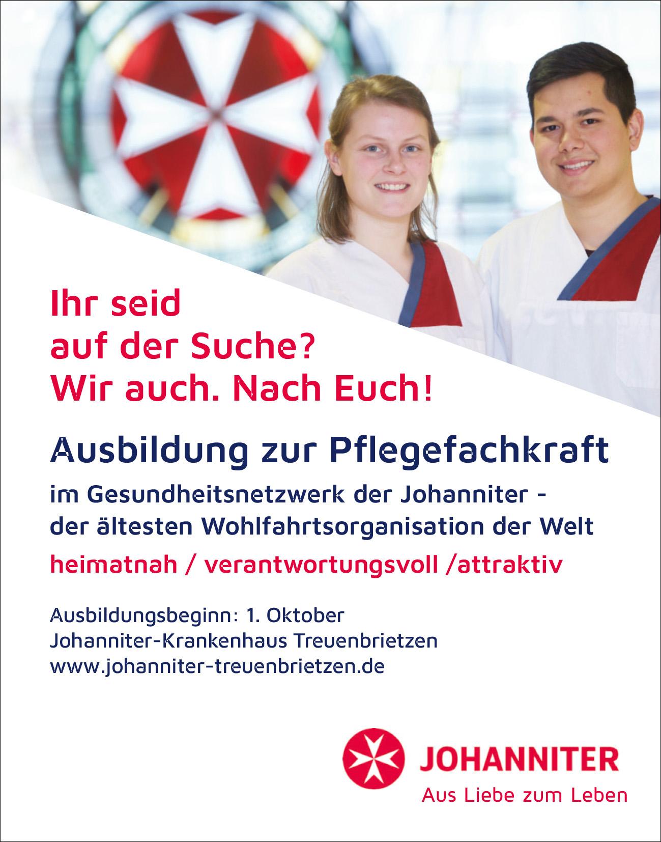 Ausbildung zur Pflegefachkraft im Johanniter-Krankenhaus Treuenbrietzen